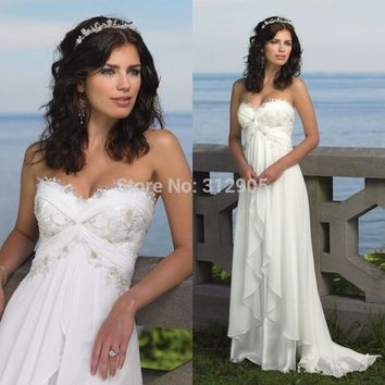 Hot Sale 2017 Sexy Chiffon Beach Wedding Dresses Cheap A line Sweetheart Briadl Dresses bohemian Wedding dress Robe de mariage