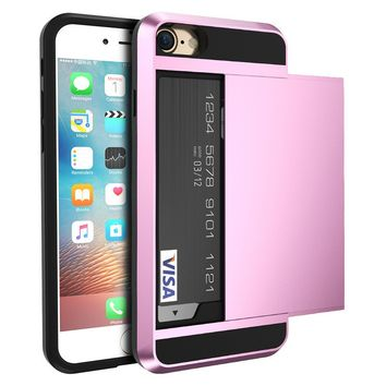 Armor Slide  Credit Card Case For I-Phone 5/6/ 7
