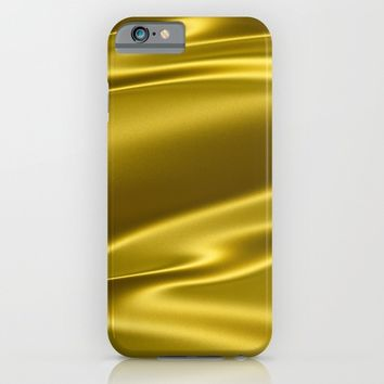 Gold sparkling silk folds iPhone & iPod Case by Natalia Bykova