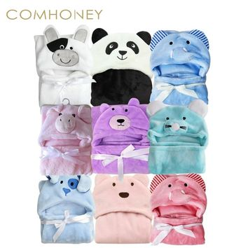 Baby Blanket Neonatal Hold Flannel 3D Animals Hooded Throw Swaddle For Toddlers Infant Envelope For Newborns Bathrobe Towel
