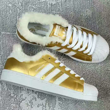 """ADIDAS"" Trending Fashion Casual Sports Shoes Plush Golden white line"