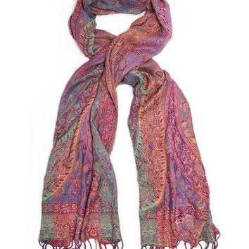 Bohomonde Antara Scarf Shawl, Indian Paisley Pashmina Jewel Tones
