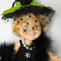 DOLL CLOTHES FITS THE GALOOB BABY FACE DOLL HANDMADE CROCHET BLACK DRESS