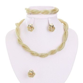 CREYV2S Moochi Africa Style Gold Plated Necklace Earrings Bracelet Ring Jewelry Set