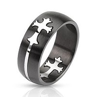 Purpose - FINAL SALE Bold Two Tone Black and Silver Stainless Steel Cut Out Cross Design Ring