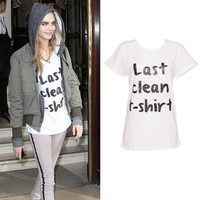 CARA DELEVINGNE Womens White Last Clean T shirt Slogan