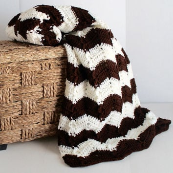 Afghan - Handmade Ripple Blanket - Brown and White