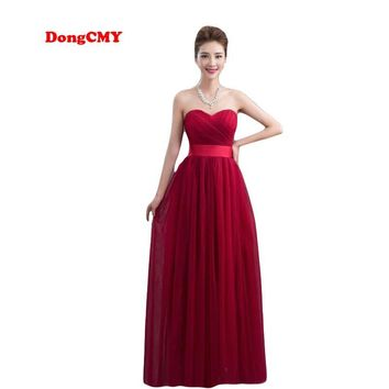 New 2017 bridal red long design Custom made Plus size Chiffon burgundy party elegant Bridesmaid Dresses