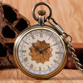 Elegant Retro Fob Chain Pendant Copper Roman Numbers Skeleton Hand Winding Mechanical Pocket Watch Flower Dial Gift Womens Mens