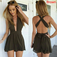 2016 Women Fashion Casual Playsuit summer Overalls Sexy Strap Deep V Neck Sleeveless Backless High Waist Solid Chiffon Jumpsuit