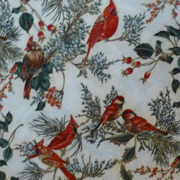 cotton Fabric, Quilt Cotton, Home Decor Fabric,Christmas, Cardinals, Gold accents, Winter Magic by Hoffman of CA. ,By the Yard