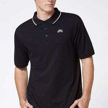 DCCKJH6 Nike SB Dri-FIT Pique Black Polo Shirt