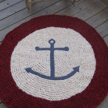 Anchors Ahoy OOAK Crochet Nautical Round Rug Red Ivory and Gray Custom Order