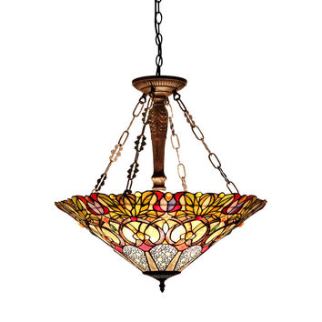 "CASSANDRATiffany-style 3 Light Victorian Inverted Ceiling Pendant Fixture 22"" Shade"