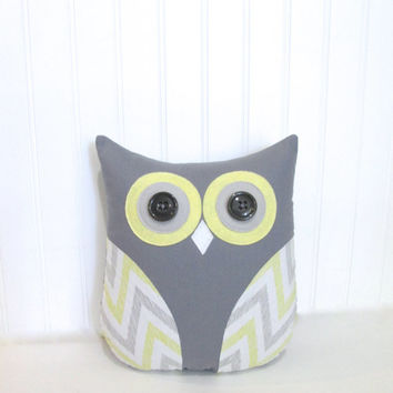 gray and yellow nursery, decorative owl pillow, yellow and gray chevron stripe pillow, gray and yellow owl, chevron owl by whimsysweetwhimsy