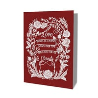 Valentine's Day Card - Love is Eternal - Papercut Illustration - 5x7 Print Folded Card