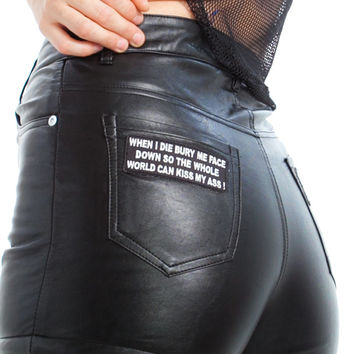 Vintage Renewed 90's Patched Vegan Leather Shorts with Fuzzy Lining  - M