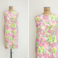 1960s Dress - Vintage 60s Floral Shift Dress - Parterre Dress