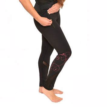 Hawaiian Pink Hibiscus Tattoo Yoga Pants with Mesh accents and zippered pocket
