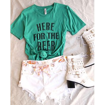 distracted - here for a good time - saint patrick's day women cotton blend tshirt - kelly green