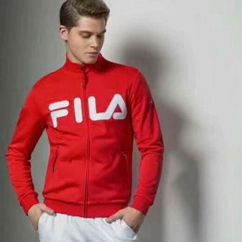 FILA zipper long sleeve Cardigan Jacket Red I-A001-MYYD