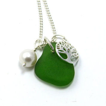 Ocean Green Sea Glass, Sterling Silver Tree of Life and Swarovski Pearl Necklace, Beach Necklace, Sea Glass Necklace