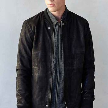Your Neighbors Dee Dee Leather Bomber Jacket- Black
