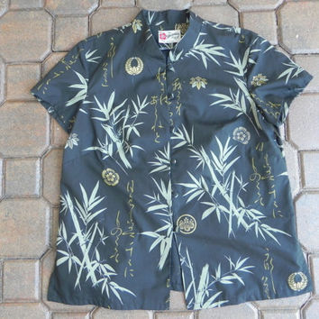 Vintage Ladies Hawaiian Original Hilo Hattie Tropical Bamboo Style Shirt  Size Medium