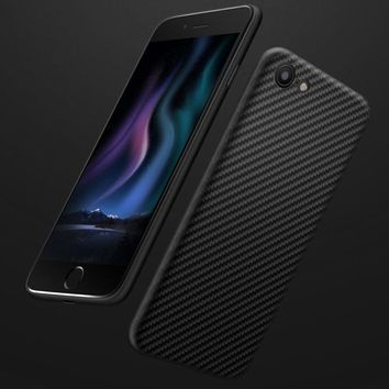 Non-porous Carbon Fiber Ultra-thin Mobile Phone Shell Slim Grade Protection Shock Absorbing Protective TPU + Carbon Fiber Armor