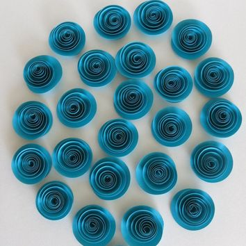 Turquoise Blue paper Roses dark Teal wedding flowers Bridal Shower Decor Floral Bouquet single rosette set of 24 baby nursery decor 1.5""