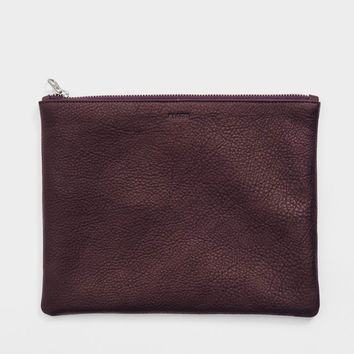 Medium Leather Flat Pouch Oxblood