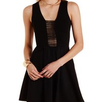 Black Strappy Cut-Out Skater Dress by Charlotte Russe