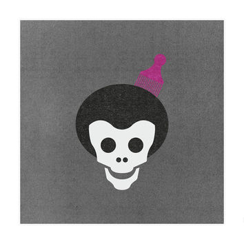 Skull With Afro Art Print