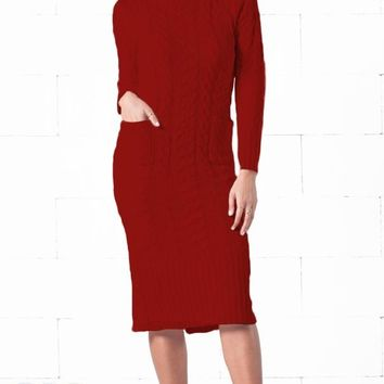 Indie XO Snow Bunny Burgundy Wine Red Long Sleeve Turtleneck Cable Knit Pocket Midi Sweater Dress - Just Ours!