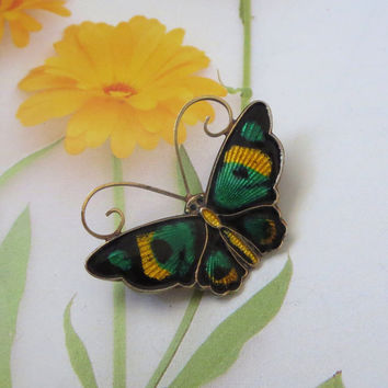 "ON SALE David-Andersen Butterfly Pin, Vintage Norway Sterling, Green Black & Yellow Enamel, Butterfly Brooch, 1 1/4"" x 3/4"", Valentine Gift!"