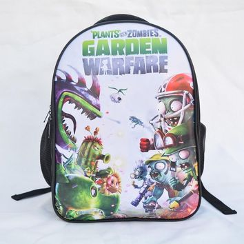 Plants vs Zombies Backpack Children Schoolbag Boy Girl Mochila Prints with Ear Phone Hole Design Front PU Leather Bookbag
