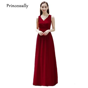 Wine Red Bridesmaid Dress Long For Evening Wedding Party Formal Dress Maternity Bridesmaid Dress For Pregnant Plus Size 8-20w