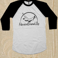 Peter Pan Shirt Raglan Tshirt 3/4 sleeves | Peter Pan Never Grow Up Shirt Baseball Shirt 3/4 Never Grow Up Short Sleeves Size S,M,L