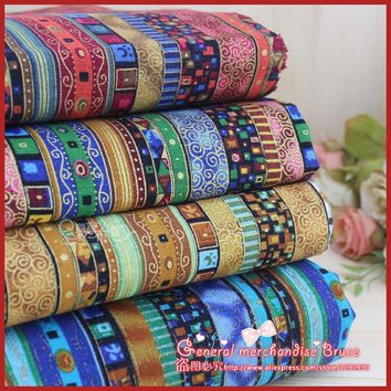 Hot ! 4piece 70*50cm  Stripe Series cotton poplin fabric fat quarter ethnic bundle clothes bedding sewing patchwork  Tilda