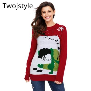 Twojstyle Ugly Christmas Sweater Women Winter Plus Size Loose Long Sleeve Big Size  Knitting Elastic Pull Femme Xmax Clothing