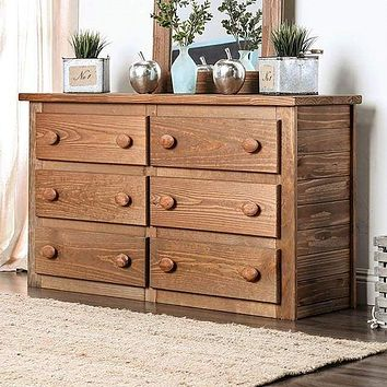 Wooden Rustic Style 6 Drawers Dresser In Mahogany Finish, Brown By Casagear Home