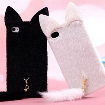 3D Luxury Plush Cute Cat Case with Ears and Tail Cover Fundas Phone Case For iPhone 7 7 plus iPhone 4 4s 5 5s SE 6 6s