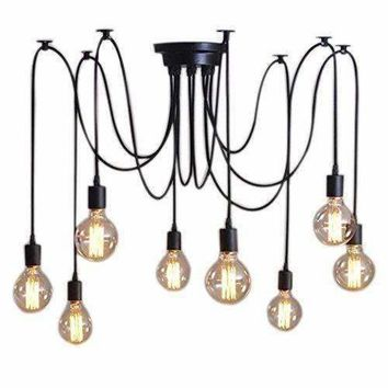 8 Lights Vintage Edison Lamp Shade Multiple Adjustable DIY Ceiling Spider Lamp Pendent Lighting Chandelier Modern Chic Easy Fi