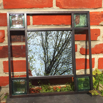 Metal Framed Glass Square Wall Mirror