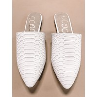 Fabia White Snake Pointed Toe Mules