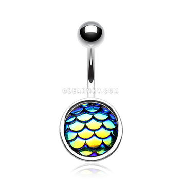 Iridescent Mermaid Scale Belly Button Ring (Rainbow)