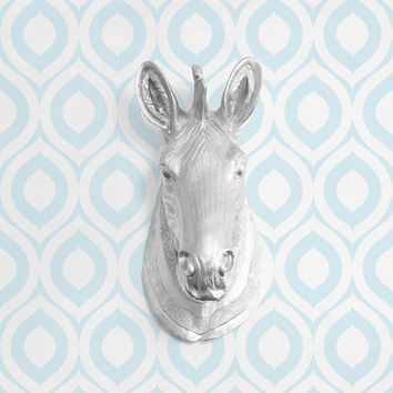 The Kalahari in Silver - Faux Zebra Head Taxidermy Resin Fake Animal Ceramic Plastic Fauxidermy Mounted Wall Decor Decorative Mount Art