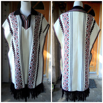 Vintage Sweater Poncho Native Tribal 70s Collar Earthtone Navajo Sarape Hippie Poncho Boho Sweater Unisex 38 Large