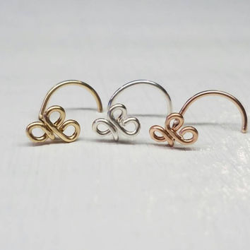 Triquetra Nose Screw, Nose Stud, Clover Nose Screw, Celtic Knot, Celtic Knot Nose Screw, Fleur-de-lis Nose Screw, 3 Leaf Clover Jewelry