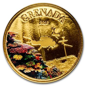 2018 Grenada 1 oz Gold Diving Paradise (Colorized)